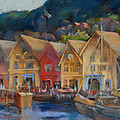 Bergen Bryggen in the Early Morning Print by Joan  Jones