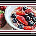 Berries and Yogurt Intense - Food - Kitchen Print by Barbara Griffin