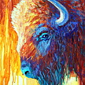 Bison on the Prairie in Autumn Poster by Theresa Paden