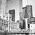 Black and White Picture of Chicago at LaSalle Bridge Print by Paul Velgos
