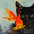 Black Cat and the Goldfish Print by Paul Lovering