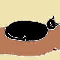 Black Cat on a Rug by Anita Dale Livaditis