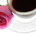 Black Coffee Pink Rose Poster by Charline Xia