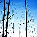 Black N Blue Hour Of Sailing Ships Poster by Rosemarie E Seppala