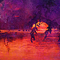 Bleeding Sunrise Abstract Print by J Larry Walker