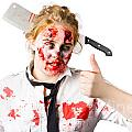 Bloody woman with cleaver in head Poster by Ryan Jorgensen