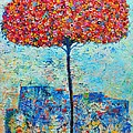 BLOOMING BEYOND KNOWN SKIES - THE TREE OF LIFE - ABSTRACT CONTEMPORARY ORIGINAL OIL PAINTING Poster by ANA MARIA EDULESCU