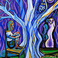 Blue and Purple Girl With Tree and Owl Poster by Genevieve Esson