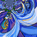 Blue and Purple Girl With Tree And Owl Upside Down Poster by Genevieve Esson