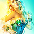 Blue Corset Poster by Shannon Maer