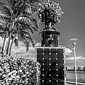 Blue Crown statue Miami downtown - Black and White Print by Ian Monk