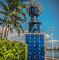 Blue Crown statue Miami downtown Print by Ian Monk