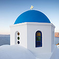 Blue domed church in Oia Santorini Greece Poster by Matteo Colombo