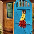 Blue Door and Peppers Poster by Jeff Kolker
