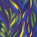 Blue Green Purple Abstract Silk Design Print by Sharon Freeman
