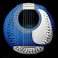 Blue Guitar Baseball White Laces Square Poster by Andee Photography