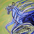 Blue Horse Print by Genevieve Esson