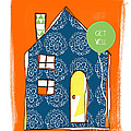 Blue House Get Well Card Poster by Linda Woods
