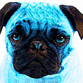 Blue - Pug Pop Art By Sharon Cummings Poster by Sharon Cummings