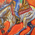 blue roan reining horse spin Print by Jenn Cunningham