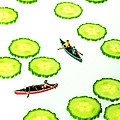 Boating among cucumber slices miniature art Print by Paul Ge