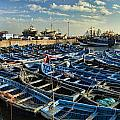 Boats in Essaouira Morocco harbor Print by David Smith