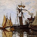 Boats in the Port of Honfleur Print by L Brown