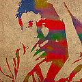 Bob Dylan Watercolor Portrait on Worn Distressed Canvas Print by Design Turnpike