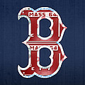Boston Red Sox Logo Letter B Baseball Team Vintage License Plate Art Poster by Design Turnpike