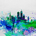 Boston Watercolor Skyline Poster by Irina  March