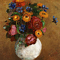 Bouquet of Flowers in a White Vase Poster by Odilon Redon