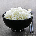 Bowl of rice with chopsticks Poster by Elena Elisseeva