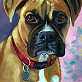Boxer Dog Portrait Print by Lyn Cook