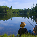 Boys Fishing Print by Diane Diederich