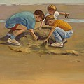 Boys in the Sand Print by Sue  Darius
