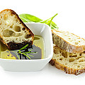 Bread olive oil and vinegar Print by Elena Elisseeva
