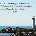 Breakwater Lighthouse Santa Cruz With Verse  Print by Barbara Snyder