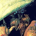 Bret Michaels with harmonica Print by Michelle Frizzell-Thompson