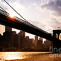 Brooklyn Bridge and Skyline Manhattan New York City Poster by Sabine Jacobs