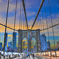 Brooklyn Bridge at Dusk Print by Randy Aveille