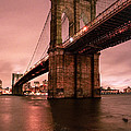 Brooklyn Bridge - Red morning Poster by Gary Heller