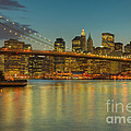 Brooklyn Bridge Twilight Poster by Clarence Holmes