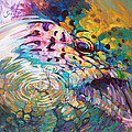 Brown Trout And Mayfly - Abstract Fly Fishing art  Print by Mike Savlen