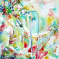 BRUCE SPRINGSTEEN PLAYING the GUITAR WATERCOLOR PORTRAIT.1 Print by Fabrizio Cassetta
