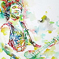 BRUCE SPRINGSTEEN PLAYING the GUITAR WATERCOLOR PORTRAIT.2 Print by Fabrizio Cassetta