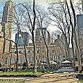 Bryant Park Library Gardens Poster by Tony Ambrosio