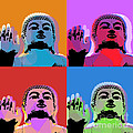 Buddha Pop Art - 4 panels Print by Jean luc Comperat