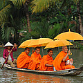Buddhist Monks in Mekong river Print by Dung Ma