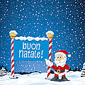 Buon Natale Sign Santa Claus Winter Landscape Poster by Frank Ramspott