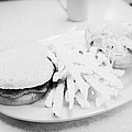 burger crinkle cut fries and salad in a cheap diner in north america Print by Joe Fox